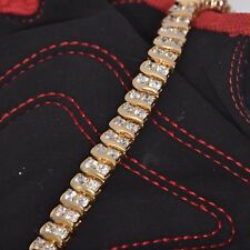 """Gold Plated Sterling Silver 2 Rows Cubic Zirconia Tennis Bracelet 7"""""""