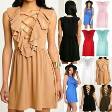 Ladies Women 70'S Front Tie Lace Up Eyelet Lace Detail Flared Frill Skater Dress