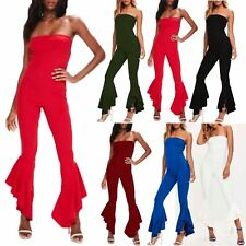 Women Wide Leg Palazzo Flared Asymmetric Frill Boobtube Jumpsuit Ladies Playsuit