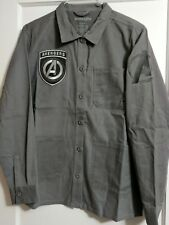Marvel Comics AVENGERS Button Up Men's Collared Long Sleeve Shirt Army Jacket