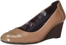 Naturalizer Womens Necile Leather Cap Toe Wedge Pumps