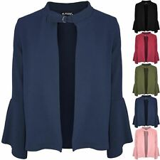 New Womens Buckle Frill Sleeve Blazer Ladies Open Front Jackets Casual Cardigan