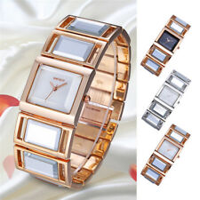 Women Elegant Rhinestone Analog Quartz Bracelet Gold/Silver Square Wrist Watch
