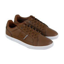 Lacoste Straightset 417 1 CAM Mens Brown Leather Lace Up Sneakers Shoes