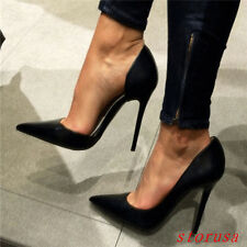 Sexy Women Lady Super High Heels Stiletto Pump Shoes Black Pointy Toe Shoes Size
