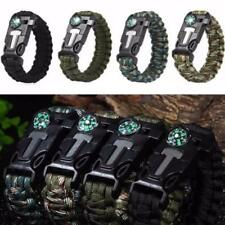 Outdoor Hiking Emergency Paracord Bracelets Fire Starter Compass Whistle hfor 01