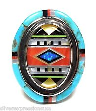 Multicolor & Sleeping Beauty Turquoise Inlay 925 Sterling Silver Ring size 6-8.5