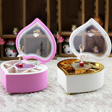 Heart-shaped Music Jewelry Box Carousel Girl Mechanical Wooden Music Box Gift SB