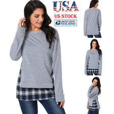 Women Crew Neck Check Pullover Long Sleeve Plaid Sweater Jumper Top Blouse Shirt