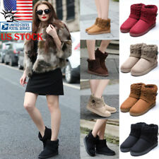 Womens Weave Knitted Snow Ankle Boots Ladies Flats Warm Winter Casual Shoes Size