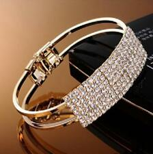 1Pcs Elegant Cuff Crystal Bangle Women Jewelry Bracelet Gold Silver Plated Gift