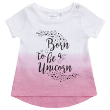 Girls Dip Dyed T Shirt with Print Kids Toddlers Summer Short Sleeve Cotton