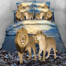 Lion Quilt Duvet Doona Cover Set Single Queen King Size Animal Bed Cover Set New
