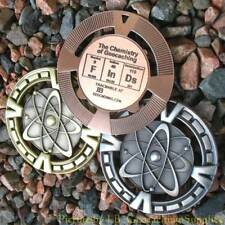 "FInDs - Chemistry of Geocaching Geomedal Geocoin (2.5"", Cutouts, Antique Finish)"