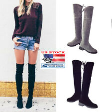 Womens Stretch Leg Over The Knee Flat Heel Ladies Thigh High Winter Boots Shoes