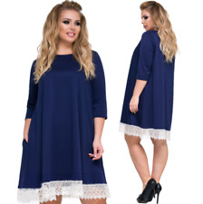 Plus Size Women Lady Lace Up Casual Party Tunic Dress Party Cocktail Mini Dress