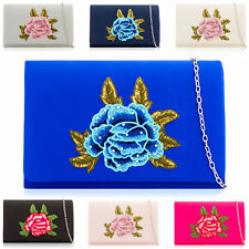 Duchess Satin Bridal Bags Women Floral Evening Party Prom Wedding Ladies Clutch