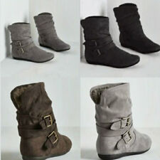 Women Mid Calf Boots Shoe Low Chunky Flat Heel Suede Faux Buckle Shoes Size 5-10