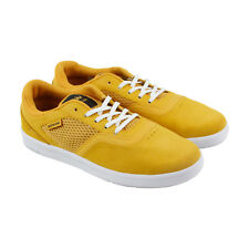 Supra Saint Mens Gold suede & Mesh Sneakers Lace Up Skate Shoes