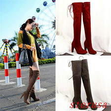 HIGH BLOCK HEEL WOMEN LADY STRENCH OVER KNEE HIGH BOOTS SILM LEG BOOTS KNIGHT