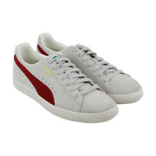Puma Clyde Mens Gray Suede Lace Up Sneakers Shoes