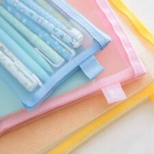 Clear Exam Pencil Case Transparent Simple Mesh Zipper Stationery Bag School US