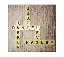 """X-Large Wood Scrabble Letter Tiles Wall Art Hanging Decor, 5.5"""", Personalize"""