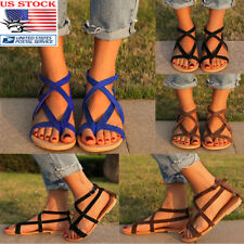 Women Party Boho Bohemia Ankle Strap Flat Sandals Beach Flip Flops Shoes Size US