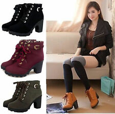 Womens High Heels Lace Up Ankle Boots Casual Zipper Buckle Platform Martin Shoes