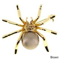 Goldtone or Silvertone Faux Cultured Pearl and Crystal Spider Brooch