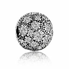 authentic sterling silver charm bead Screw White Rhinestone Crystal Fit Bracelet