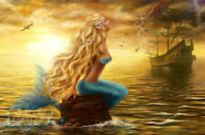 Modern Home Art Wall Decor Mermaid and Pirate Ship Oil Painting Print on Canvas