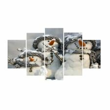 5Pcs/Set Christmas Snowman Canvas Print Oil Painting Home Wall Picture