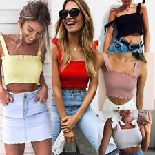 Women Casual Slim Sleeveless Tank Cami Crop Tops Summer Sexy Bow-knot Vest SML