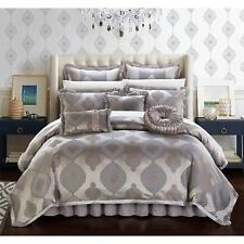 Chic Home Felicci Taupe Faux Silk with Pleated Flange 13 Piece Comforter Set Bed