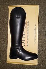 SHIRES LONG BLACK LEATHER BOOTS HORSE RIDING FOOTWEAR STABLE YARD UK 6.5 EURO 40