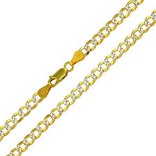 Solid 925 Sterling Silver GP 2 Toned DC Cuban 5mm Chain