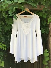 Donna Bizzarra White Viscose Rayon Peasant Blouse Tunic Top Boho Sz L