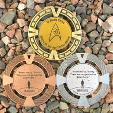 """Beam Me Up, No Geocaches Here! (2.5"""", Unactivated, Geomedal Geocoin)"""