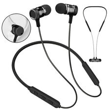 Metal Magnetic Bluetooth Headphone Wireless Headset Bass Earphone Neckband Mic