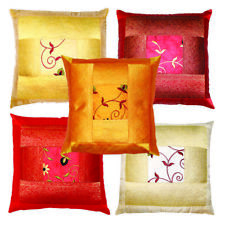 Indian Home Decorative Floral Embroidery Square Silk Pillow Case Cushion Cover