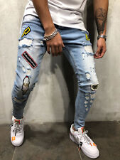 Distressed Jeans Streetwear Patched Ripped Ankle Zipper Skinny Fit Casual 4367