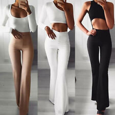 Women Solid High Waist Flare Wide Leg Chic Trousers Bell Bottom Yoga Pants FA
