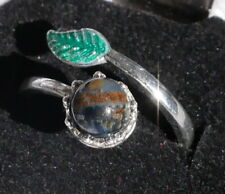 Gemstone Bead Ring with Delicate Hand Painted Leaf - Adjustable