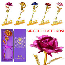 24K Gold Foil Plated Rose Romantic Birthday Valentine's Day Gift Flower Floral