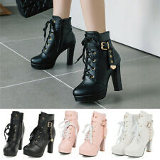 Womens Platform High Heel Ankle Boots Buckle Strap Round Toe Fashion Dress Shoes