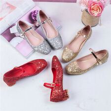 New Womens Low Heel Dress Pumps Shiny Ladies Glitter Mary Jane Shoes Ankle Strap