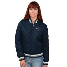 Dallas Cowboys Navy Women's Goal Line Quilted Bomber Jacket By G-III