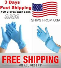 100 Blue nitrile Exam Gloves Latex Powder Free Strong Disposable Medical Grade