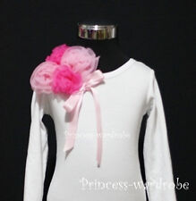 Long Sleeve White Top Hot Light Pink Rose Pink Bow 1-8Y